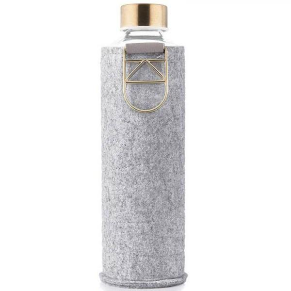 Equa Glas Trinkflasche gross 0,75L mit Hülle gold