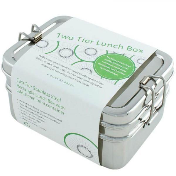 Edelstahl Lunchbox Slice of Green - 3 Behälter