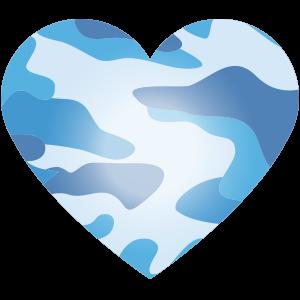 Camou Herz blau